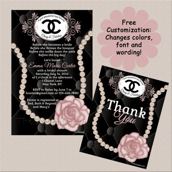 custom hand drawn coco chanel designer bridal shower invitation and thank you card printable digital file set birthday in 2018 bridal shower