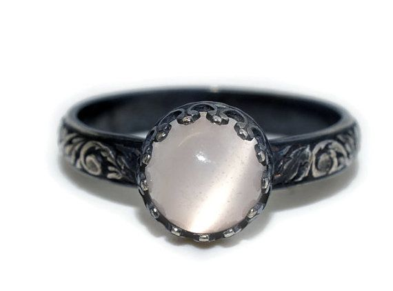 White Moonstone Engagement Ring Oxidized by fifthheaven on Etsy, $100.00
