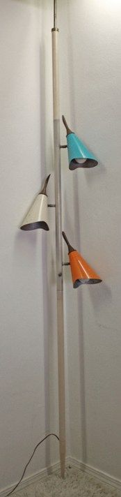 Truly iconic Mid-Century tension pole lamp.