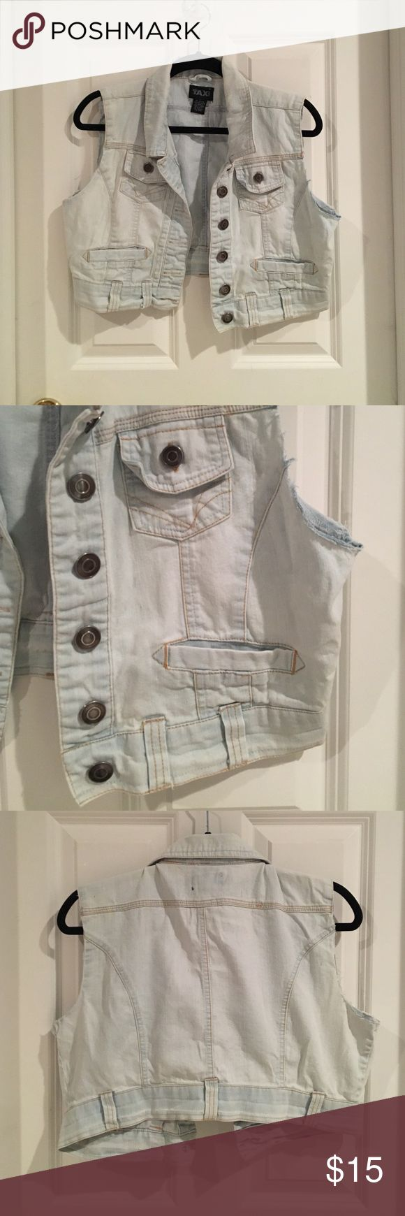 Cropped Sleeveless Denim Jacket Cropped sleeveless denim jack by Taxi barely worn. Says large but fits me like a medium. Taxi Jackets & Coats Jean Jackets