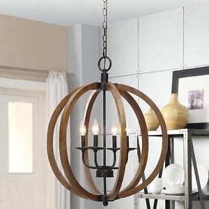 Details About Rustic 4 Light Orb Chandelier Globe Pendant Lighting Sphere Lam