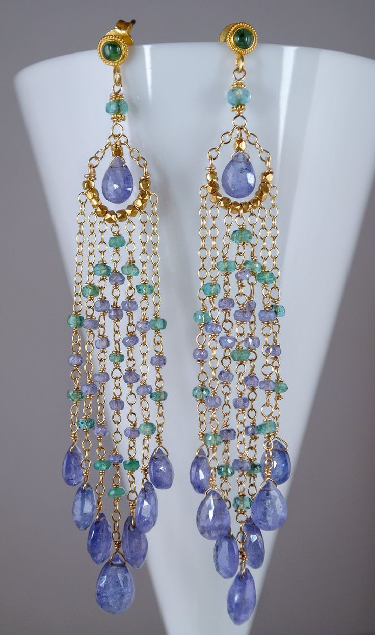 10% Off  Delicate Emerald And Tanzanite Gold Earrings $2,25000, Via Etsy
