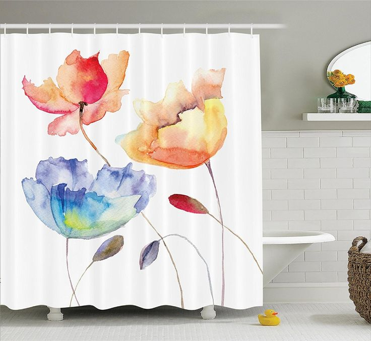 Cheap shower curtain, Buy Quality floral shower curtain directly from China shower curtain flowers Suppliers: Floral Shower Curtain Watercolor Flower Summer Flowers in Retro Style Painting Polyester Fabric Bathroom Set Pink Yellow Blue