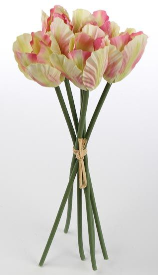 Cream and Pink Artificial Parrot Tulip Bundle