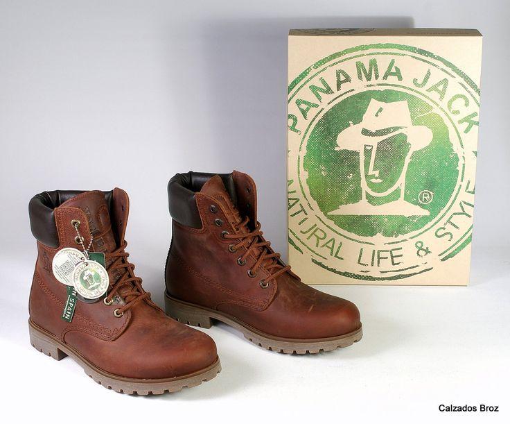 Colección Panama Jack. Bota de piel con cordón - Marrón. (home).