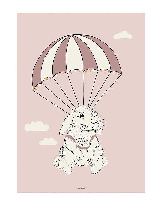 Bloomingville Mini Parachuting Bunny Poster  Mini f0fd51b894564