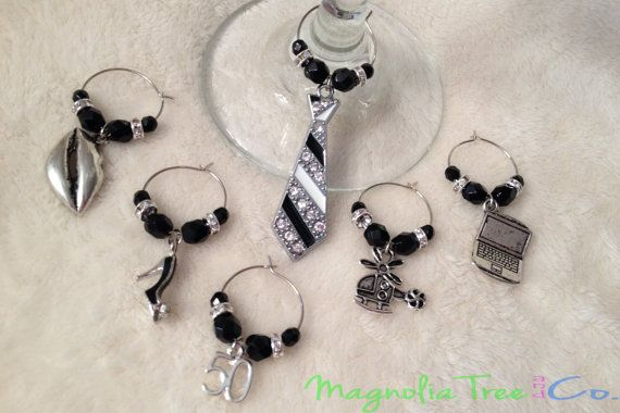 Shades of Grey Inspired  Wine Charms  Set of by MagnoliaTreeandCo, $13.50
