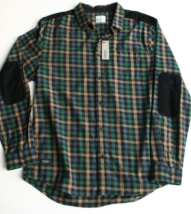 Wesc mens xl green black plaid checked corduroy elbow for Mens flannel shirt with elbow patches