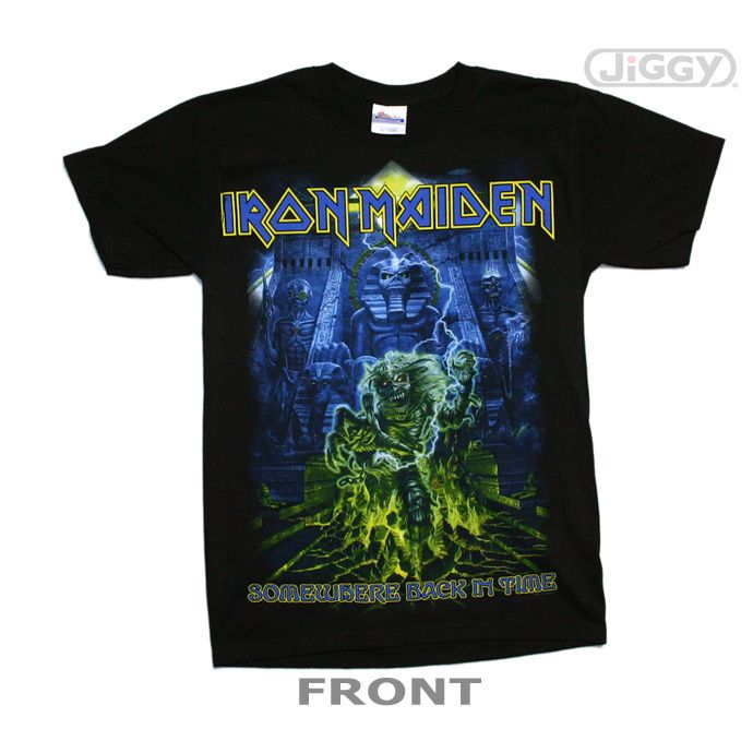 """JiGGy.Com - Iron Maiden - Somewhere Back In Time Mummy T-Shirt Iron Maiden t-shirt with mummy artwork from their 2008 greatest hits album, """"Somewhere Back In Time"""" on both the front and back of the t-shirt. Printed on a black 100% cotton t-shirt."""