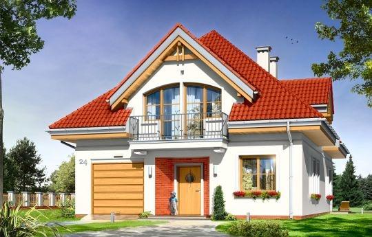 """Prezentujemy uroczy dom jednorodzinny, dla cztero-pięcioosobowej rodziny, parterowy z poddaszem użytkowym, zbudowany na planie prostokąta, przekryty czterospadowym dachem. Projekt dedykowany jest Inwestorom posiadającym dość wąską działkę, chcącym mimo to zbudować zgrabny, ładny dom  nie przypominający """"tramwaju"""". Spokojna w wyrazie architektura domu łączy w sobie tradycyjną formą ze współczesnymi detalami i nowoczesnymi materiałami oraz kolorystyką."""