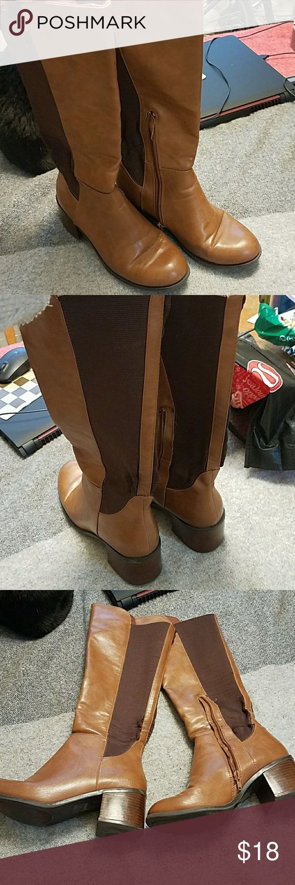 FOREVER 21 cognac riding boots, chunky heel. The riding boots are in a stylish cognac color with a stacked 3 inch heel. They have side zippers and a cloth fabric back. They are in good condition but have a few scuffs and wear. Forever 21 Shoes Heeled Boots