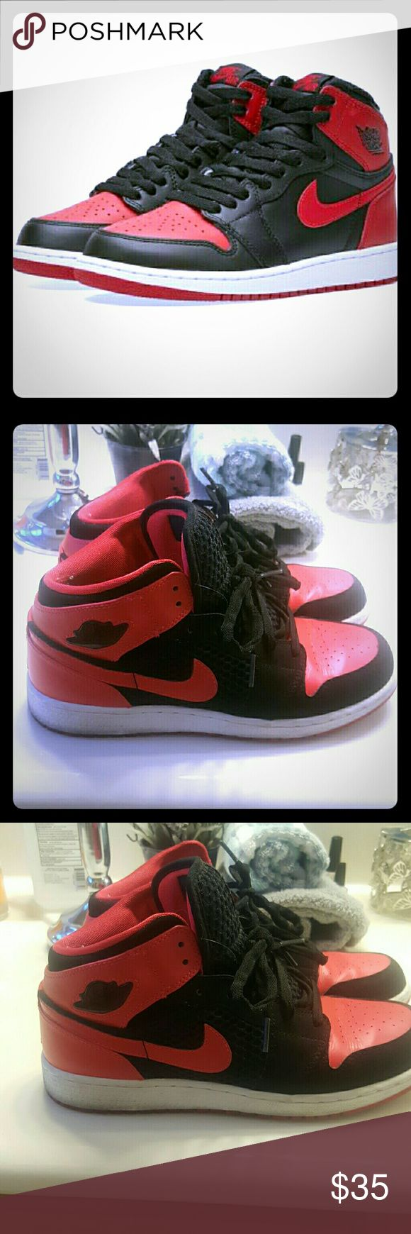 Black & red JORDANS Black & red JORDANS have been worn has some dirt around bottoms but can be removed. Clean smoke free odor free home nike Shoes Sneakers