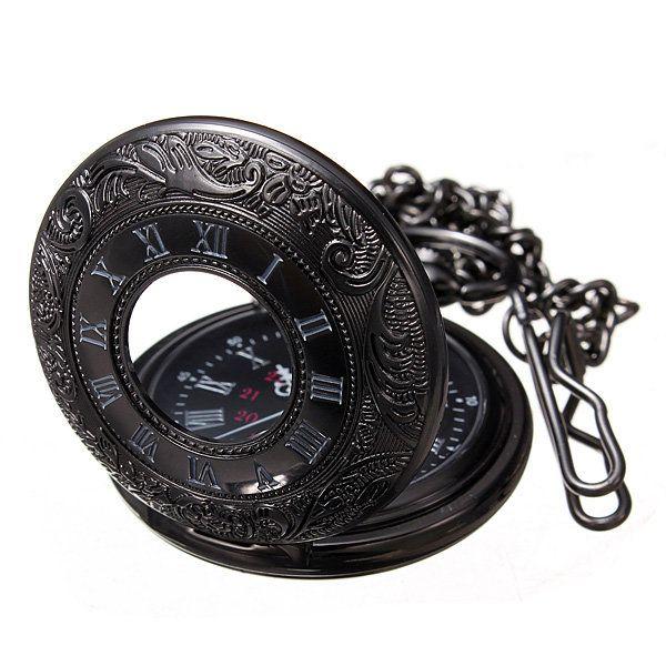 Vintage Hollow Roman Flower Alloy Black Men Women Pocket Watch - US$3.49  #women #men #fashion #jewelry #watches