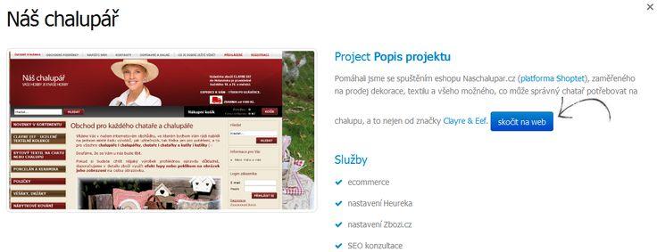 Pomáhali jsme se spuštěním eshopu www.naschalupar.cz (platforma Shoptet), zaměřeného na prodej dekorace, textilu a všeho možného, co může správný chatař potřebovat na chalupu, a to nejen od značky Clayre & Eef.