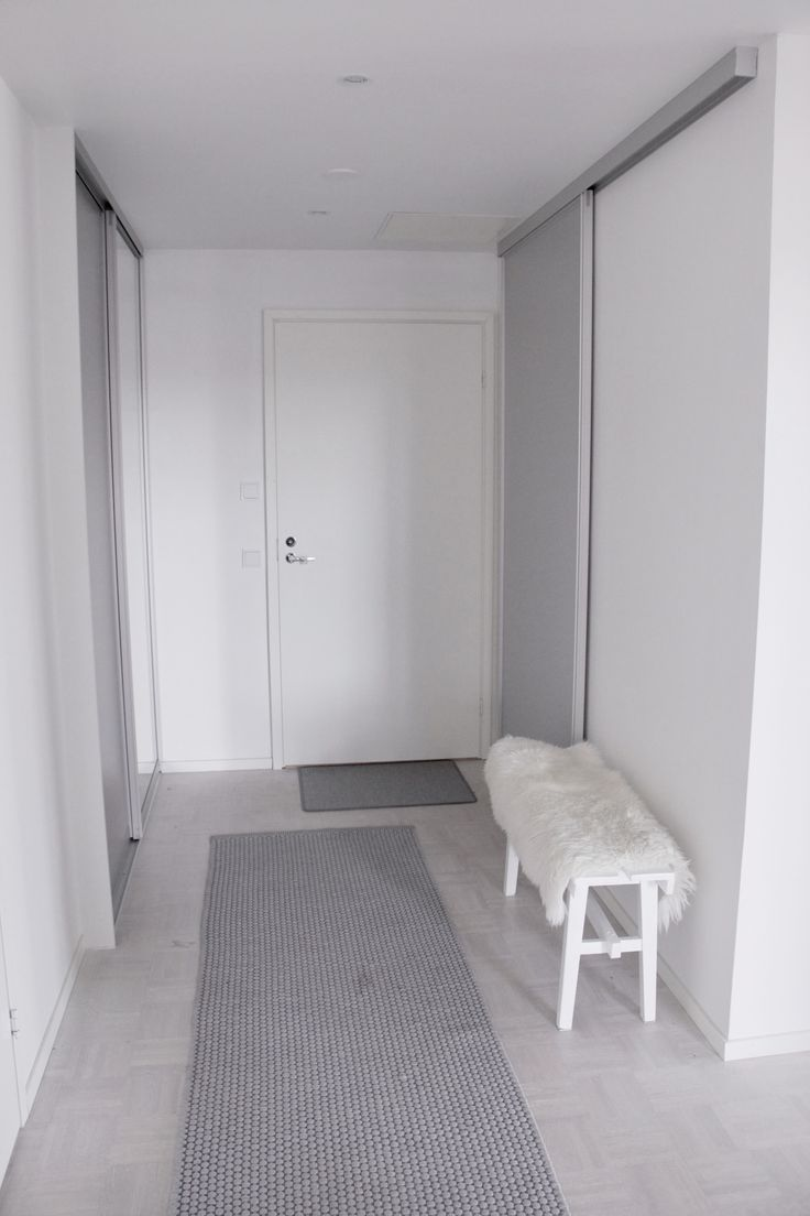 Welcome home! Vestibule #vestibule #eteinen #welcome #grey #white #sheepskin #integratedcabinets #Tylli #Satakieli #matto