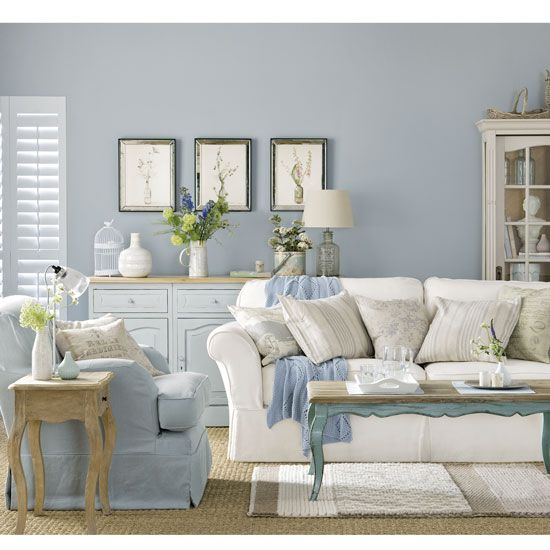 How To Create Your Favourite Country Style. Pale Blue Country Boutique Living  Room ...