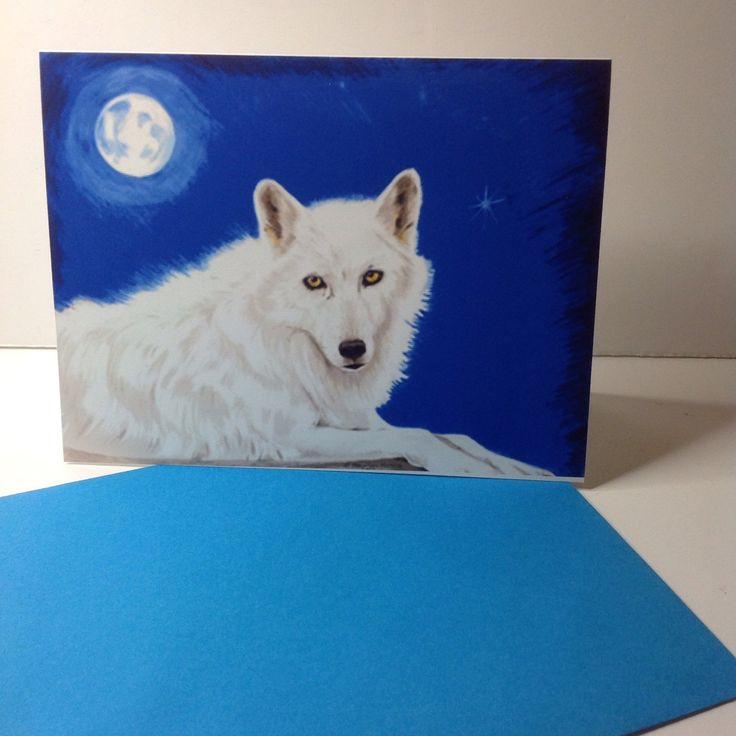 Wolf Card, White Wild Wolf Card, She Wolf Greeting,Wildlife Greeting Card, Conservation card by ArtandDesign4u on Etsy