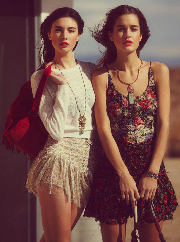 Road trip wearing Free People.: Vintage Floral, Mixed Prints, Red Lips, Summer Skirts, People April, Girls Fashion, Free People, The Mode, Girls Outfit