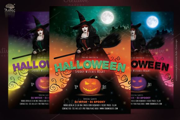 Best Halloween Flyers: Halloween Witches Party Flyer by Ade Concept on Creative Market