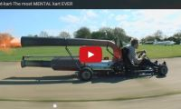 Jet-kart-The most MENTAL kart EVER Oh my word! What has he done to this go kart? The metal seems to be turning orange because it blows so hot and he's racing it down this airstrip up to about 60 mph without helmet or even fire-retardant clothing ...