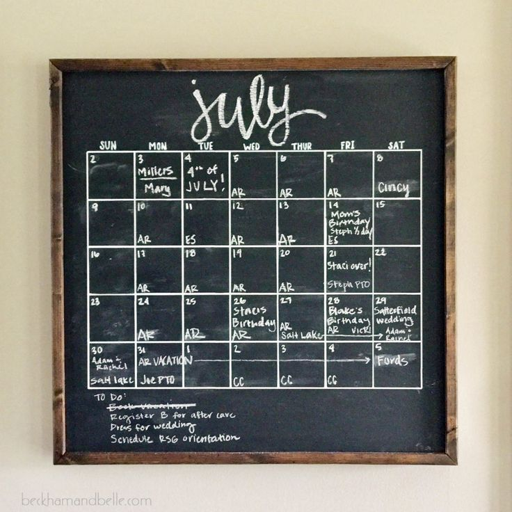 Blank Calendar Hobby Lobby : Diy framed wooden chalkboard calendar