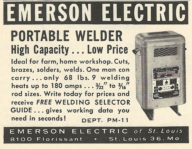 1962 ad: Emerson Electric Portable Welder
