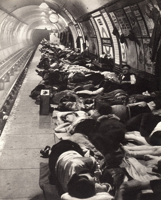 Bomb shelter in a London Underground station, during The Blitz, WW2