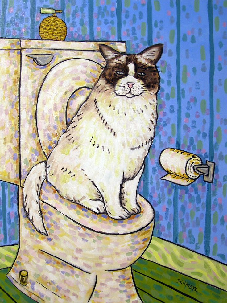 FLUFFY CAT BATHROOM 4x6 Signed Art Print Animals Impressionism Gift New  #modern