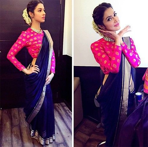 Divya Khosla Kumar in chanderi silk saree