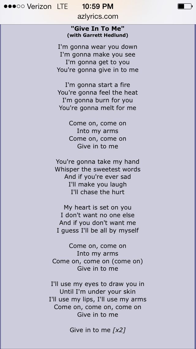 Give in to me - LEIGHTON MEESTER LYRICS from the movie Country Strong