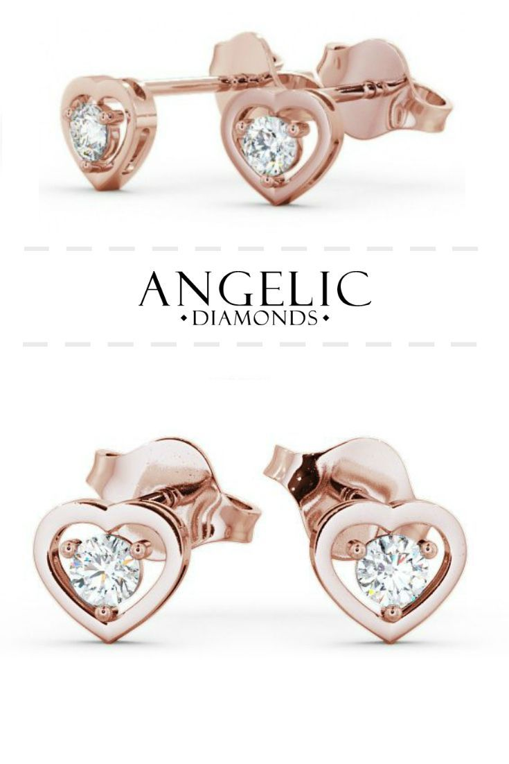 These stud earrings are adorable! They've got a round shaped diamond in the centre surrounded by a rose gold heart-shaped design. Find them on the #AngelicDiamonds website. #Wedding #Engaged #Engagement #Diamond #Diamonds #RoseGold #Earrings #Jewellery #Jewellery #DiamondJewellery #DiamondJewelry #DiamondEarrings #RoseGoldJewellery #RoseGoldJewelry #RoseGoldEarrings #GoldEarrings #GoldJewellery