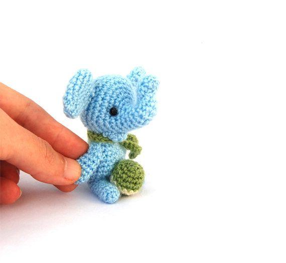 mini elephant crochet sky blue elephant by tinyworldbycrochAndi, $19.72