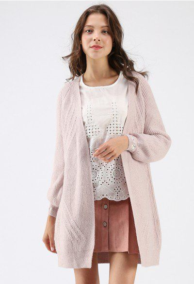631cadbf514807 Ideal for Fall Ribbed Knit Longline Cardigan in Ivory - Sweaters - TOPS -  Retro