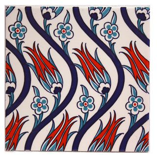Iznik Tile - Designs of Iznik pottery combined traditional Ottoman arabesque patterns with Chinese elements, this was a result of the patronage by the Ottoman court in Istanbul who greatly valued Chinese blue-and-white porcelain.