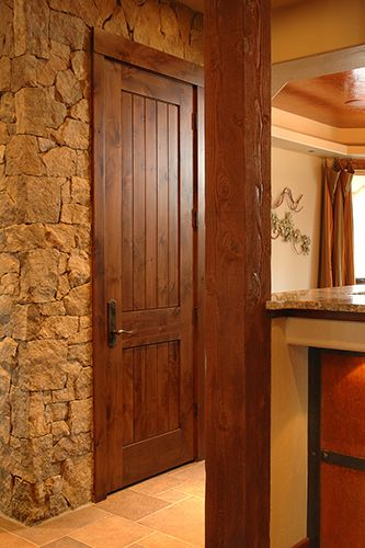 Rustic 1 3/4u201d Knotty Alder Door, 2 Panel Plank Square