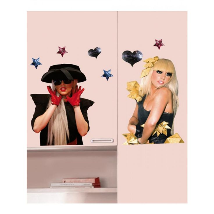 Little Monsters will love these cool Lady Gaga wall stickers! Each pack contains two A3 size sheets with a large image of Gaga on each, plus additional smaller stickers which can be used to accessorise the larger stickers.