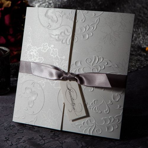 simple but elegant engraved flowers folded invites with tags EWWS003 as low as $1.99
