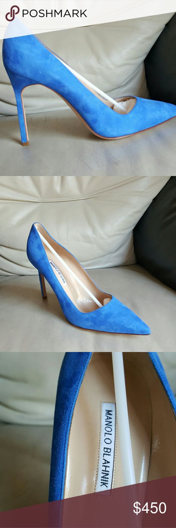 NIB Manolo Blahnik Blue Suede BB Pumps New with box and dustbags.  Heels 4 inches Manolo Blahnik Shoes Heels