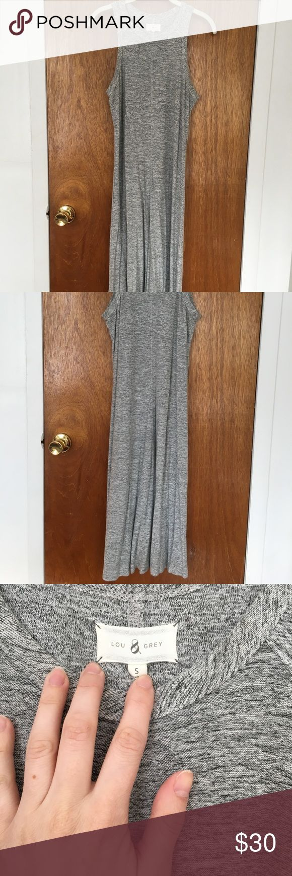 Loft Lou & Grey midi dress Super comfy sleeveless dress in marled gray from Loft. Gently used, a former favorite of mine, but grew tired of it. Lou & Grey Dresses Midi