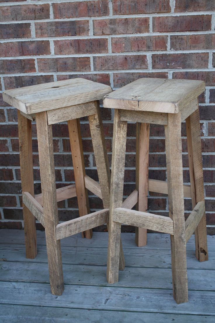"""YOUR Reclaimed Rustic and Recycled Oak Barn Wood Rectangle Top Bar Stool with a 24"""" - 28"""" Tall seats. $95.00, via Etsy."""