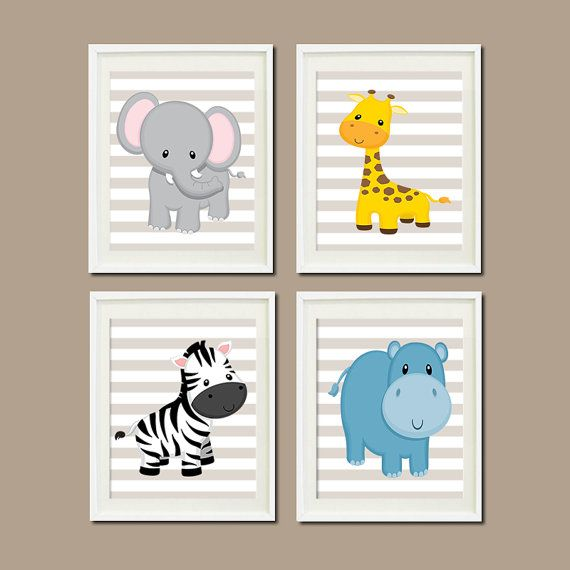 JUNGLE Nursery Wall Art ELEPHANT Giraffe Zebra Hippo Set of 4 Prints Zoo Safari Animals -- can change color of stripes $37+