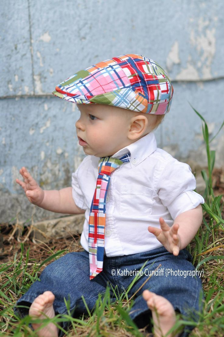 "Madras check baby newsboy hat and necktie set. Great for baby boy photo prop. Check out more baby news boy cap at my Etsy store ""dakkobabysc""."