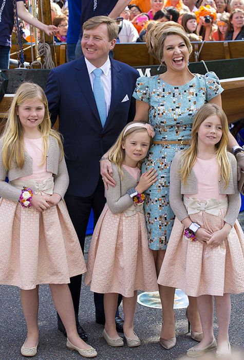 Queen Maxima and King Willem-Alexander with their three children, celebrate King's Day in the Netherlands - 2014.