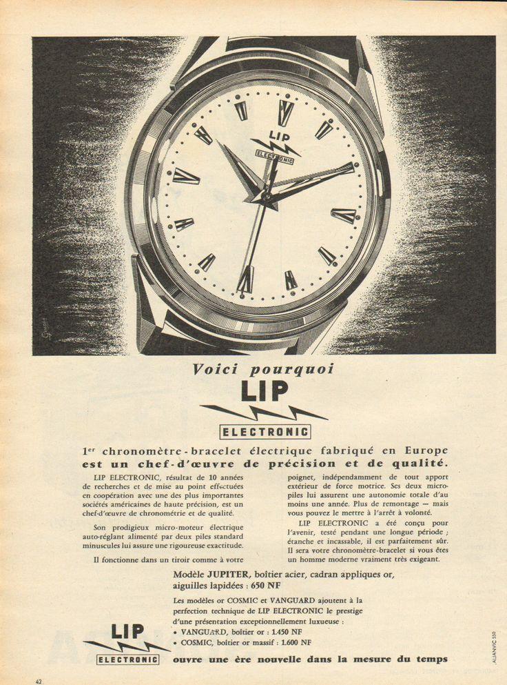 Publicité 1960 Montre LIP Electronic