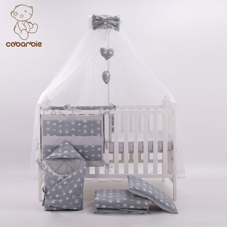 124.00$  Buy here  - 7 Pc Grey Fashion Bed Cot bedding set for newborn babies  Infant Room Kids Baby Bedroom Set Nursery Bedding