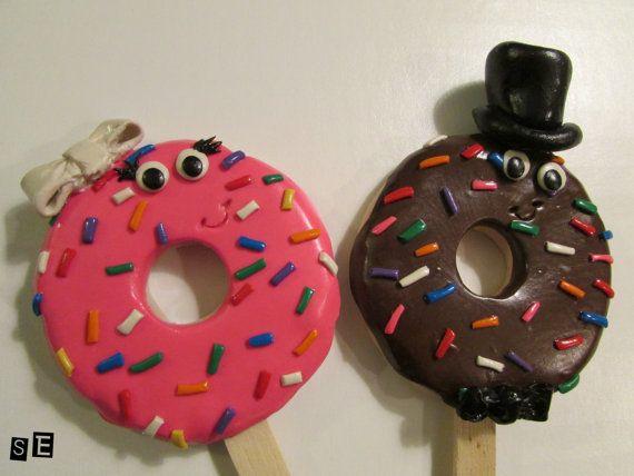 Doughnut Bride & Groom Wedding Cake Topper by SamsSweetArt on Etsy
