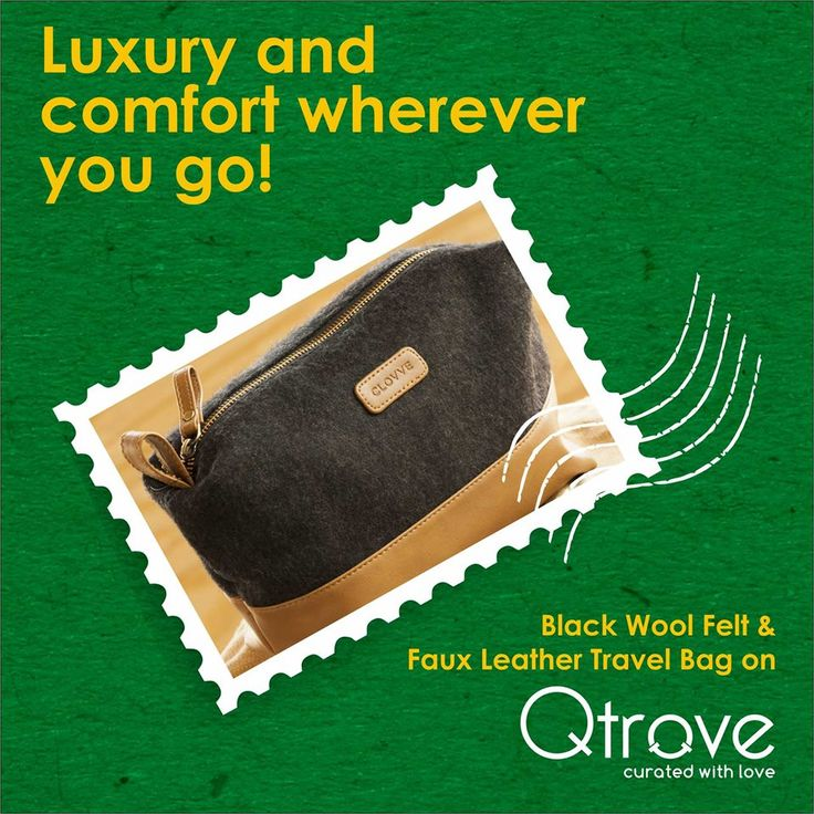 Give your travel luggage a wintry makeover with this black wool felt travel bag made from faux tan leather and imported merino wool. Travel with comfort this monsoon: https://www.qtrove.com/products/black-wool-felt-faux-leather-travel-cosmetic-pouch  #CuratedByQtrove #FauxLeather #MerinoWool #Curated #Marketplace #Travel https://www.qtrove.com/products/black-wool-felt-faux-leather-travel-cosmetic-pouch