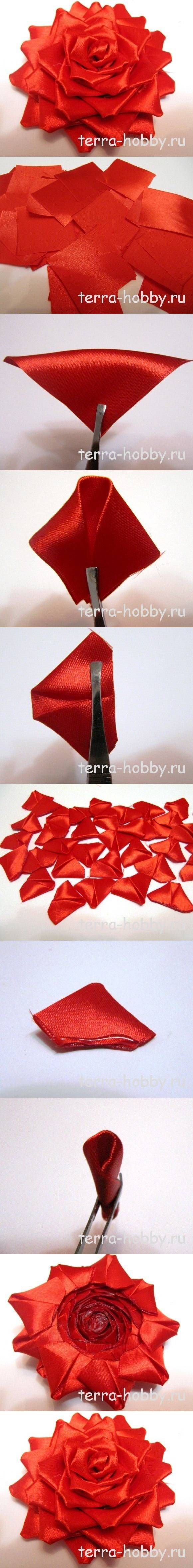 DIY Elegant Ribbon Red Rose for Wedding MAnualidad Linda bella flor de tela cinta roja en forma de rosa para boda regalo Broche
