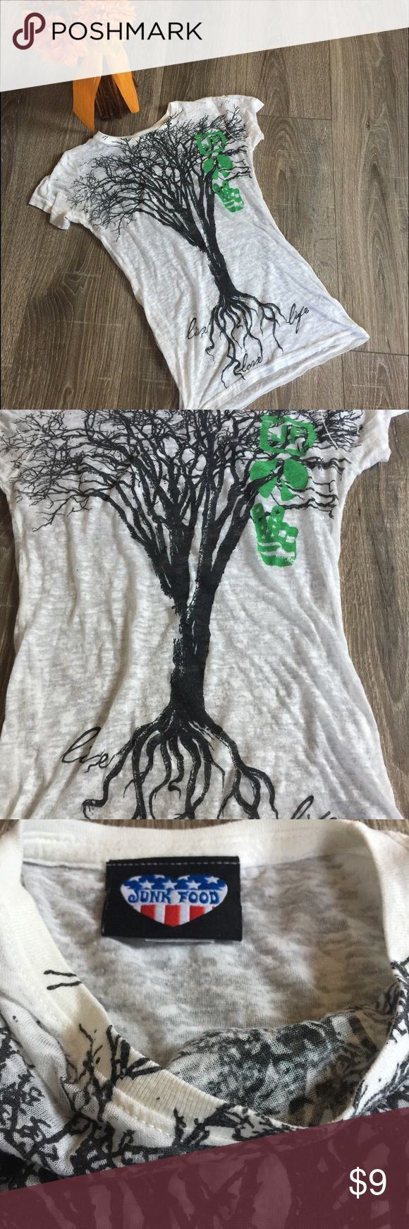 Junk Food Live Love Life Tree Burnout T-Shirt Top Burnout Junk Food top. Labeled M fits small too. Good used condition. Junk Food Tops Tees - Short Sleeve