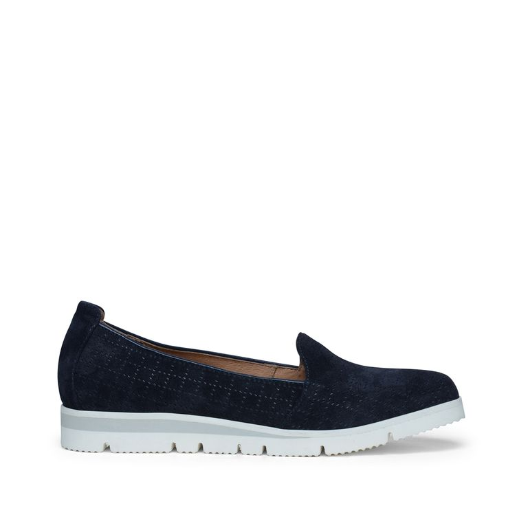 Blauwe suède loafers | Dames | MANFIELD